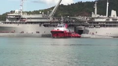 Malaysia Kota Kinabalu, November 2015, USS Ohio Guided Submarine Drive Harbour Stock Footage