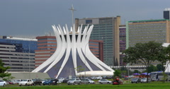 View of the Metropolitan Cathedral in Brasilia, Capital of Brazil Stock Footage