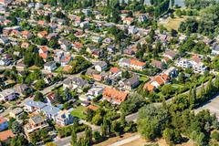 Aerial View Of Suburbs Roofs In Vienna - stock photo