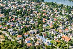 Stock Photo of Aerial View Of Suburbs Roofs In Vienna