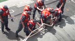 Malaysia Kota Kinabalu, November 2015, USS Ohio Guided Submarine Rope Fix Stock Footage