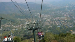 System of cables,and beijing city view from a cable, in xiangshan mountain BJ Stock Footage