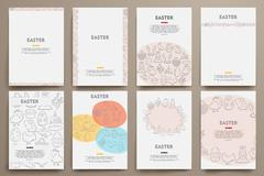 Stock Illustration of Corporate identity vector templates set with doodles easter theme