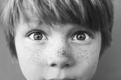 Close-up portrait of a boy with freckles Stock Photos