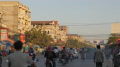 Busy street from thai border,Poipet,Cambodia Stock Footage