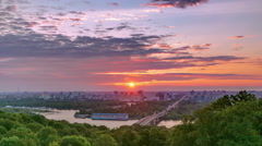 Ukraine. Kiev. Sunrise on the left bank of the Dnieper River timelapse Stock Footage