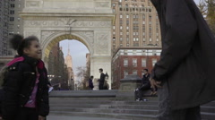 Young black girl dancing in center of Washington Square Park NYC Stock Footage