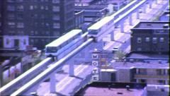 Seattle Monorail Urban Rail Train Mass Transit Vintage Film Home Movie 8694 Stock Footage