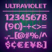 Glowing Ultraviolet Neon Numbers - stock illustration