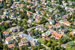 Aerial View Of Suburbs Roofs In Vienna Stock Photos