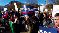 Human rights protest in support of Syrian refugees Stock Footage