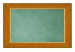Blank blackboard with wood frame isolated on white background - stock photo