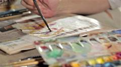 Aquarel painting process Stock Footage