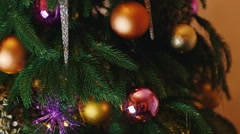 Decorations on the Christmas tree Stock Footage