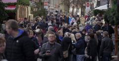 Busy crowd at christmas market Germany Stock Footage