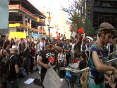 Occupy Wall Street protesters at Zuccotti park Stock Footage