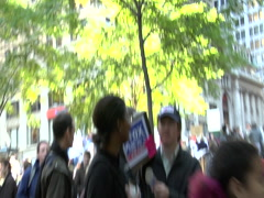 Occupy Wall Street - protest character Stock Footage