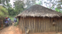 Common hut in Papua New Guinea Stock Footage
