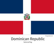 National flag of Dominican Republic with correct proportions, element, colors - stock illustration