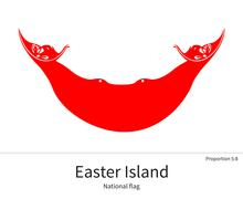 National flag of Easter Island with correct proportions, element, colors - stock illustration