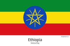 Stock Illustration of National flag of Ethiopia with correct proportions, element, colors