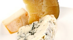 Set of some french cheeses Stock Footage