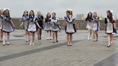DNIPROPETROVSK, UKRAINE - 30 MAY, 2015: Dance of  school girls graduates on May Stock Footage