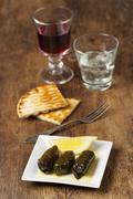 Stock Photo of greek starter with wine on wood