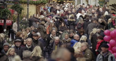 Crowd Germany shopping Christmas Market Stock Footage
