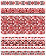 Ukrainian embroidery ornament - stock illustration
