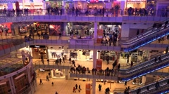 Crowd of people going in a big shopping center Stock Footage