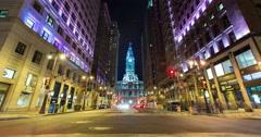 Philadelphia City Hall and Broad Street night Timelapse Stock Footage