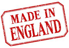 England - made in red vintage isolated label - stock illustration