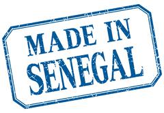 Senegal - made in blue vintage isolated label Stock Illustration