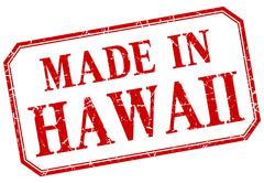Stock Illustration of Hawaii - made in red vintage isolated label