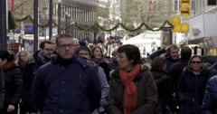 Crowd Germany shopping street Christmas Stock Footage