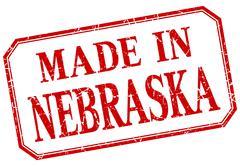 Nebraska - made in red vintage isolated label - stock illustration