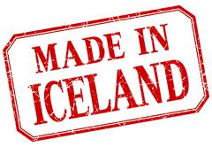 Iceland - made in red vintage isolated label Stock Illustration