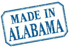 Alabama - made in blue vintage isolated label - stock illustration