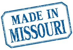 Missouri - made in blue vintage isolated label - stock illustration