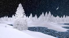 Snowy firs and frozen river at snowfall night Stock Illustration
