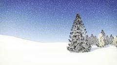 Snowy fir tree at snowfall day - stock illustration