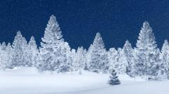 Snowy spruce forest at winter night - stock illustration