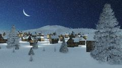Dreamlike township at snowfall winter night - stock photo