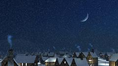 Snowy roofs with smoking chimneys at winter night - stock photo