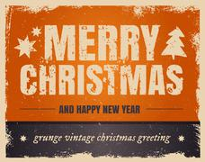 Vintage orange style Merry Christmas and Happy New Year Stock Illustration