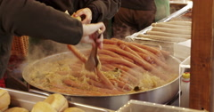 Christmas market Germany Food bratwurst Stock Footage