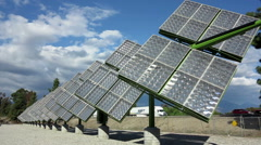 Trackers Solar Panels System Stock Footage