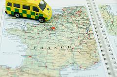 Close up to Paris, France, ambulance involved. Paris in focus only.... Stock Photos