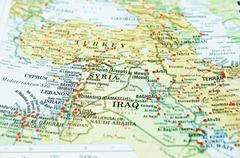 Syria on map in focus only, Syria crisis... - stock photo